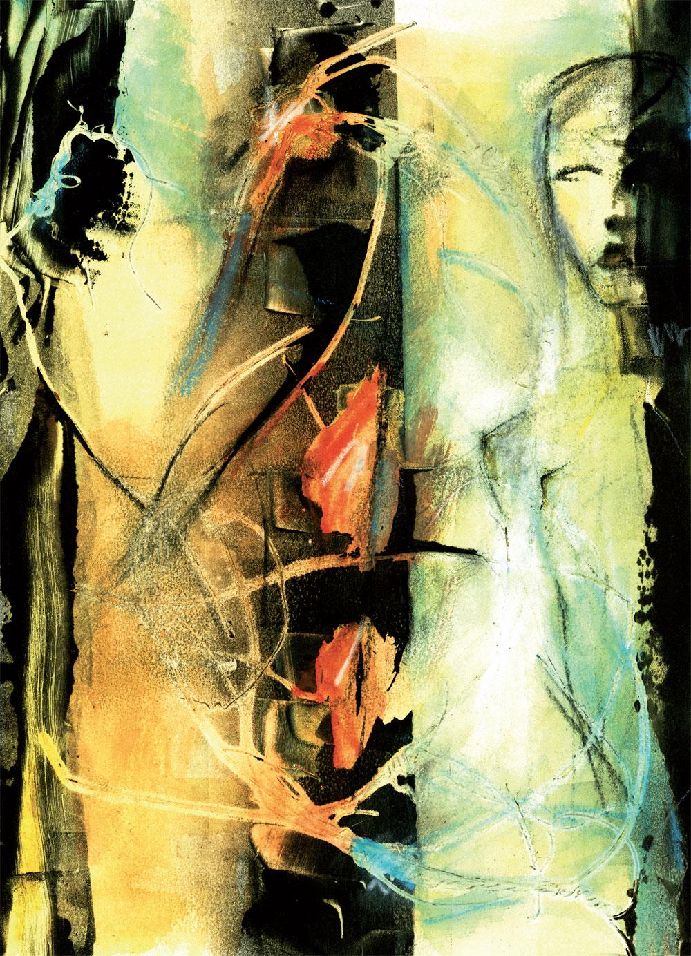 T'es belle, 2009, Monotype, 8.5 x 1