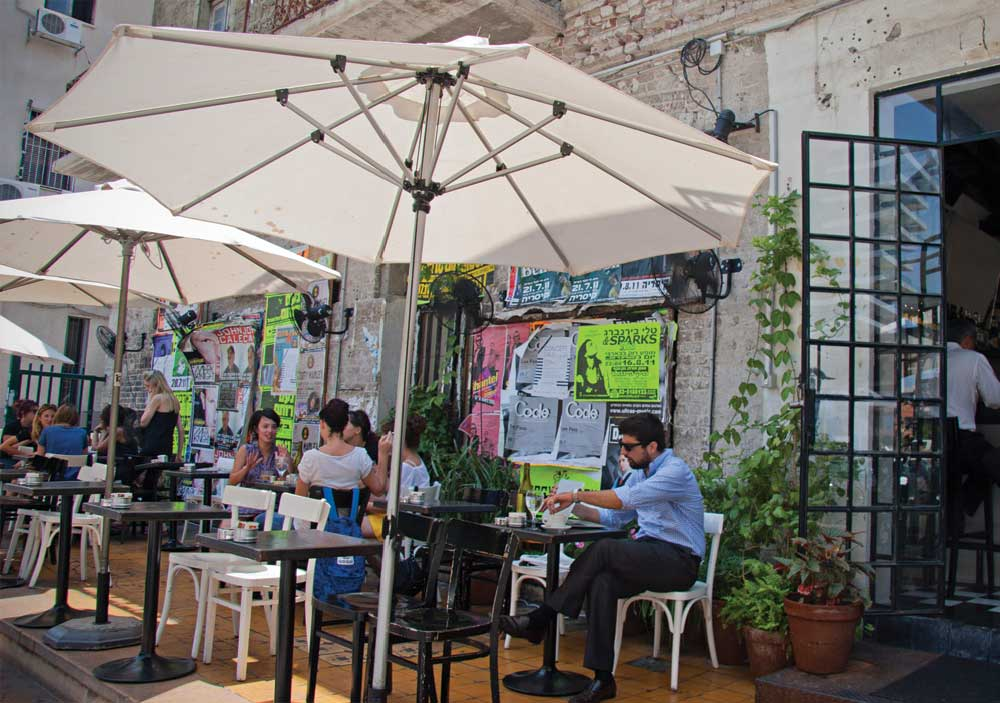 Rothschild Boulevard, with its bars and restaurants, is a great evening spot. It's laid back, but you feel people's energy! Folks from Tel-Aviv like to have fun. Enjoy your stay in Tel-Aviv.